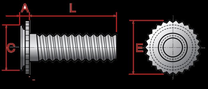 Шпилька запрессовочная для глухих отверстий FCHA, FCHC