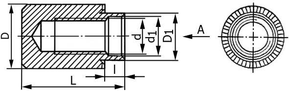 Развальцовочная резьбовая втулка (бонка) глухая, ОСТ 4Г 0.822.003