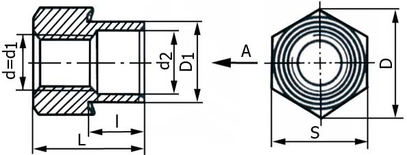 Втулка резьбовая развальцовываемая шестигранная, ОСТ 4Г 0.822.004